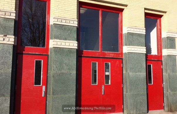 Red school doors