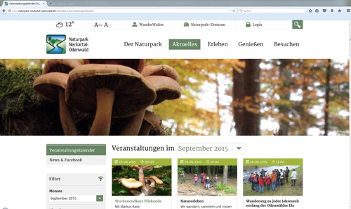 Screenshot Homepage Naturpark 20150918