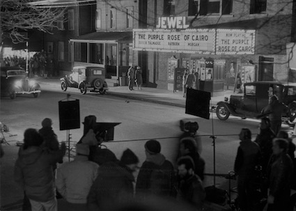 Title: The (fake) Jewel Theatre during the filming of Woody Allen's The Purple Rose of Cairo over the winter of 1983-4 in in Piermont, NY.   © Sally Savage photo.