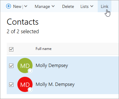 Link contact People Office 365