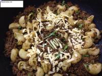 Kheema Macaroni with grated cheese