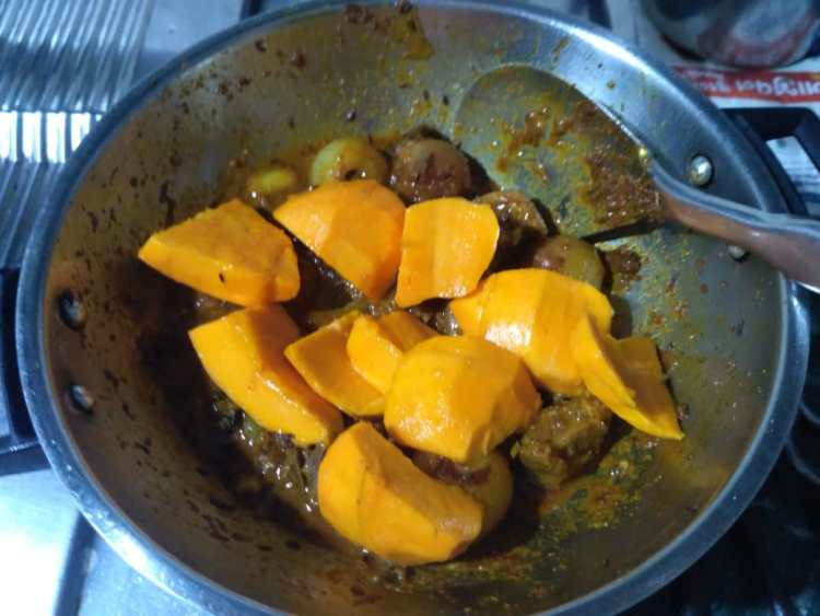 11. Add the Mango pieces and salt