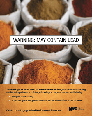 Lead in spices, herbal remedies, ceremonial powders is highly injurious, particularly for children