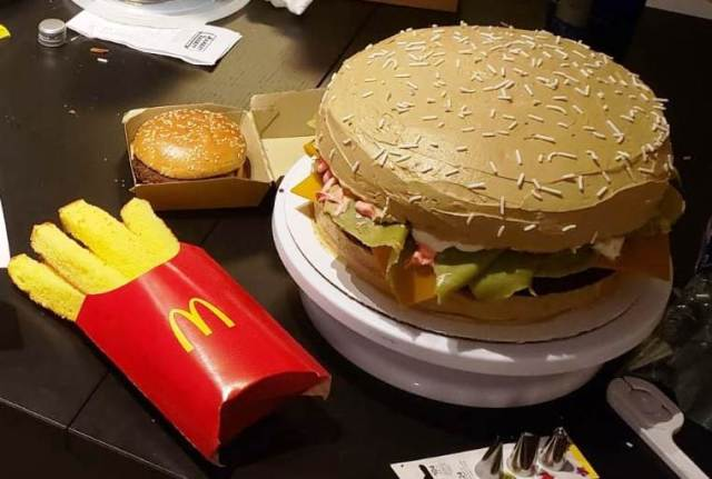 Burger Cake with French Fries.