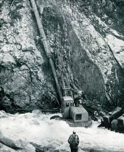 Trans Mountain 1953 Last tie in of pipe near Coquihalla Canyon