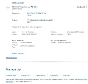 Westjet Confirmation