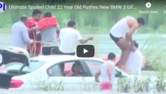 spoiled indian man puts bmw in river video