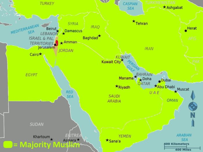 Map of the Middle East - Simplified Muslim Countries