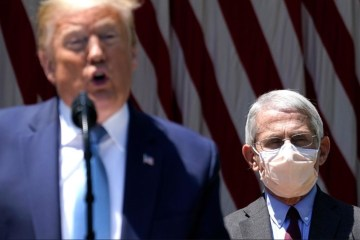 trump no mask vs fauci mask
