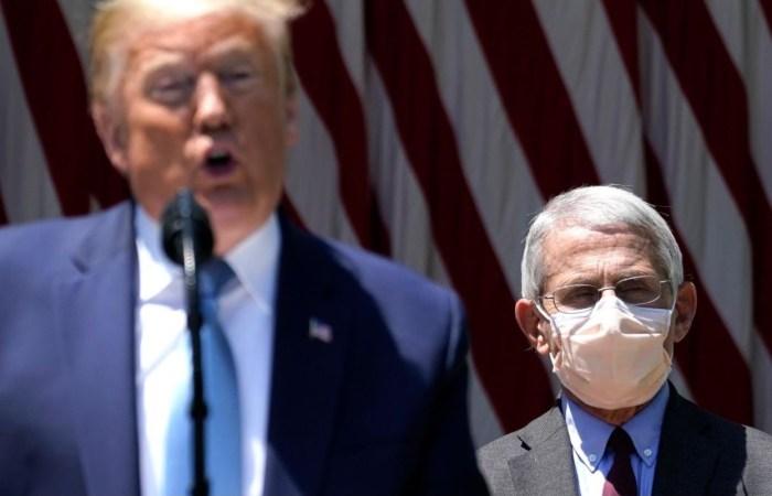 trump no mask vs fauci mask