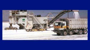 lithium mining - brine - machines conveyors into truck