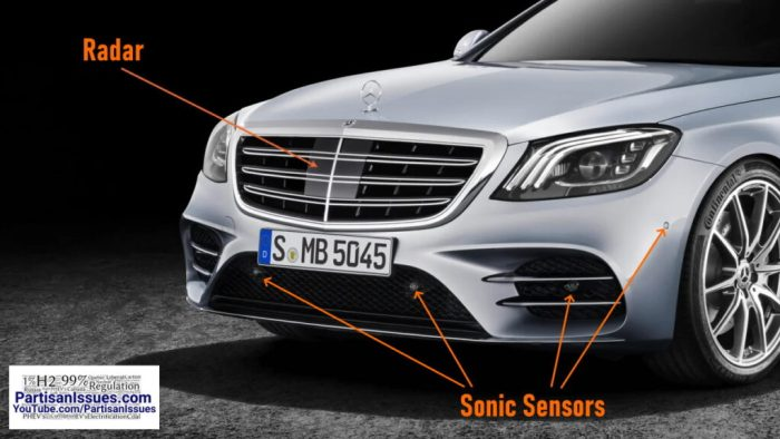 sonic sensors and radar on bumper and grill of mercedes