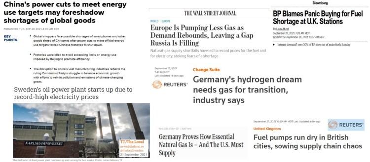 world energy shortage headlines 2021