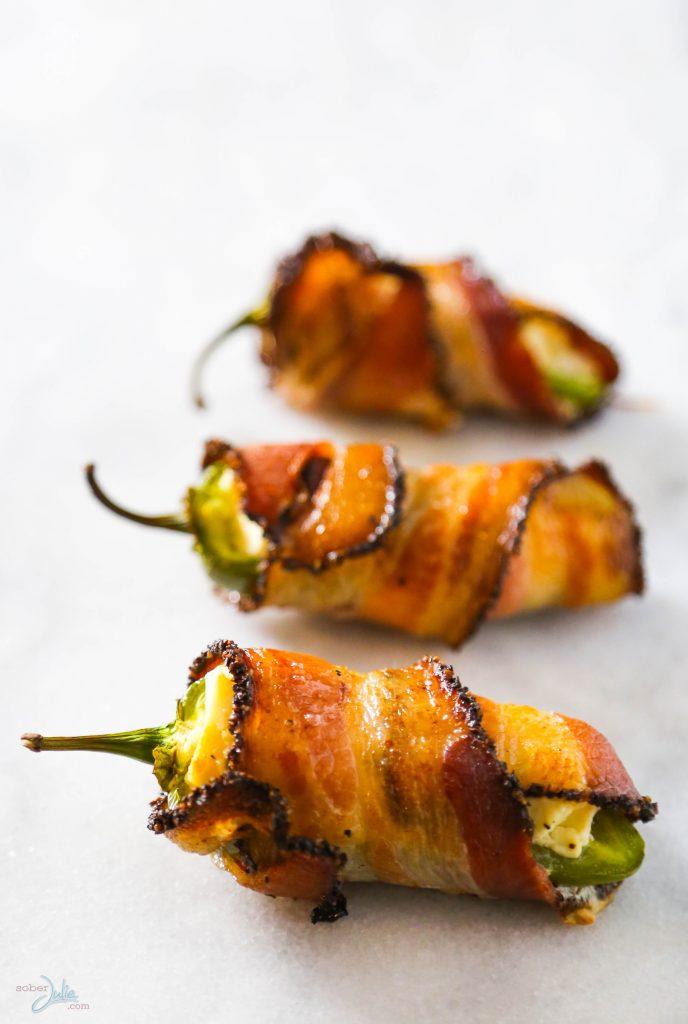 Bacon Wrapped Jalapeño Poppers by Sober Julie