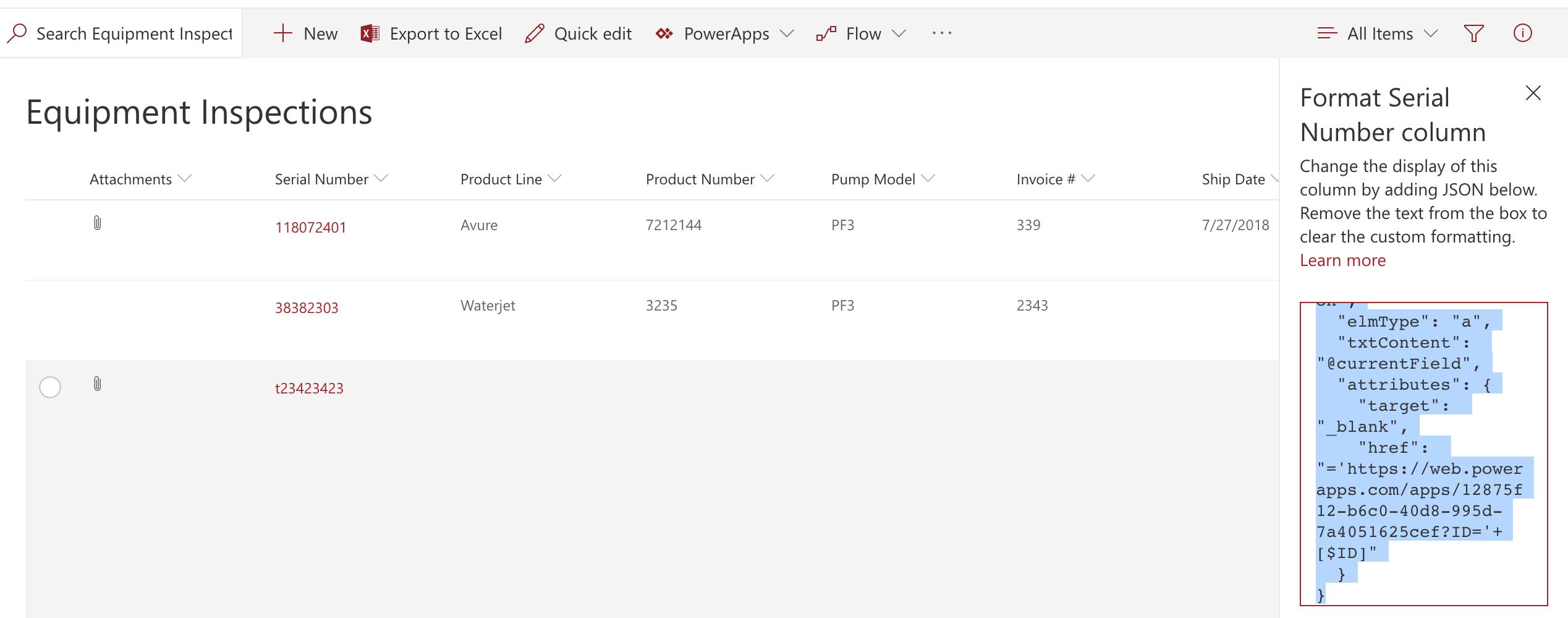 Opening PowerApp using SharePoint Column Formatting | April