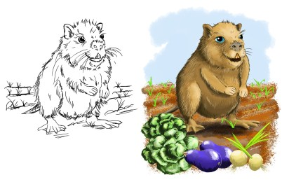 Nutria Gardening Illustration