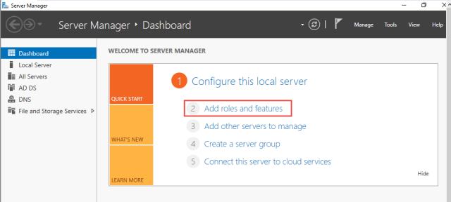 Server Manager page