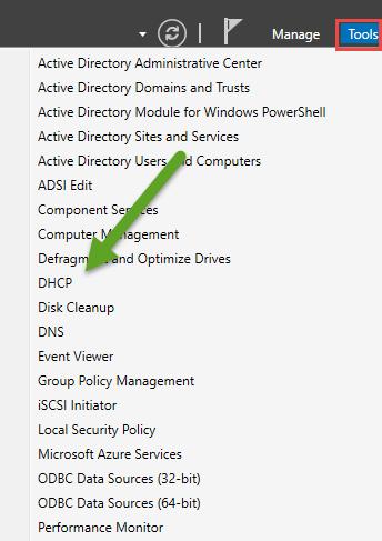 Abra o servidor DHCP