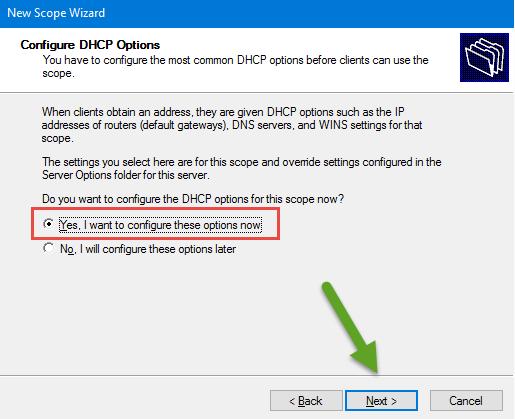 Configurar a opção DHCP