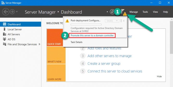 Promote this server to domain controller