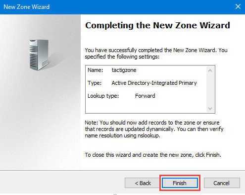 Finish wizard