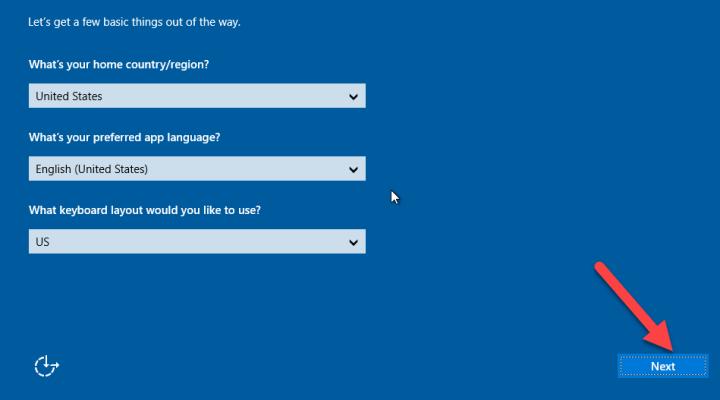 Region, preferred language, keyboard