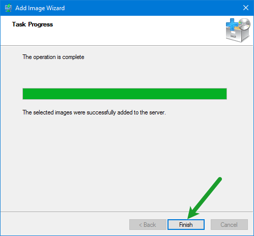 Finish Install Image Wizard