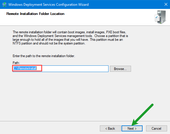 Remote Installation Folder Location