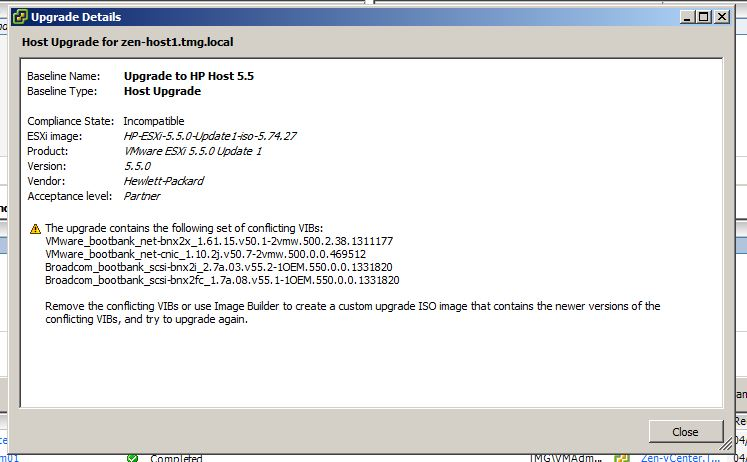Issues Upgrading HP VMware ESXi Host from 5 0 to 5 5 Update