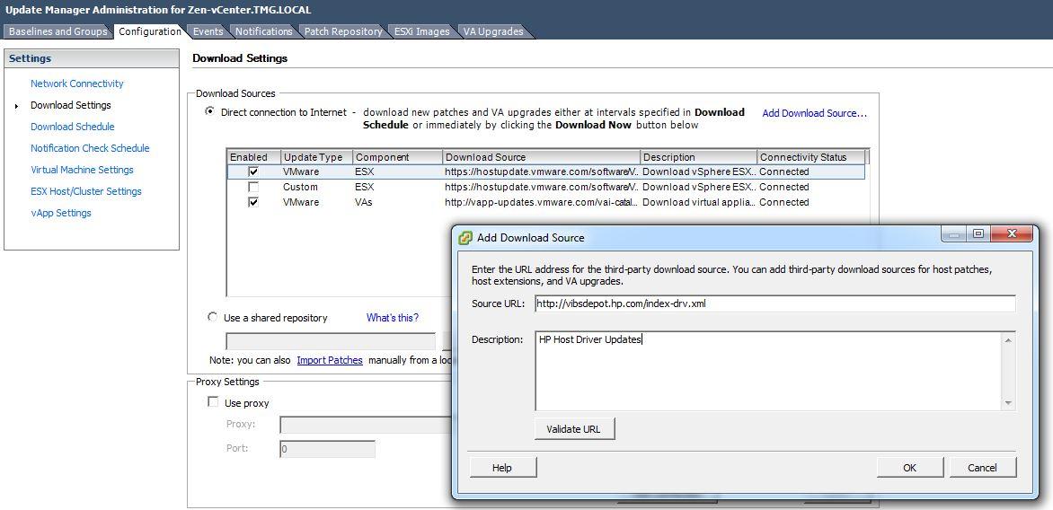 Adding-HP-ESX-Update-URL Update Manager Disabled in vSphere after 5.5 Update