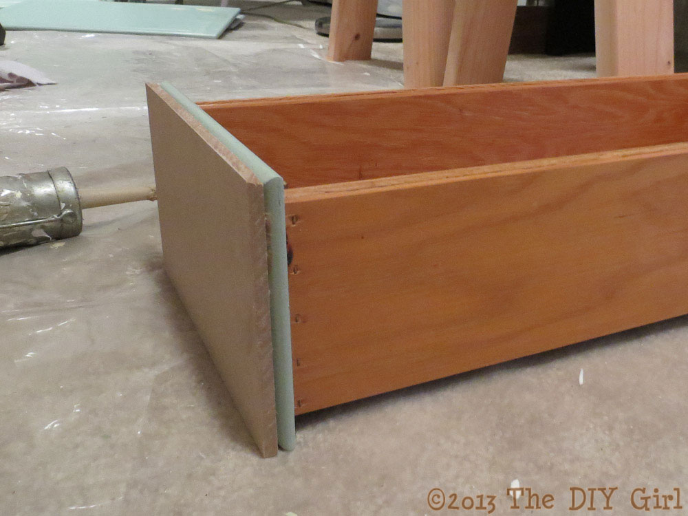 Shaker Kitchen Cabinet Update - applying the MDF strips - TheDIYGirl.com Drawer  fronts