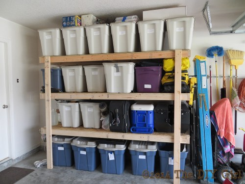 DIY shelves for garage storage - TheDIYGirl.com