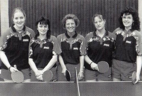 1996 - 2. Damenmannschaft von links nach rechts: Katrin Mayser, Irmgard Knayer, Gunhild Janka, Tina Baur, Gudrun Fischer