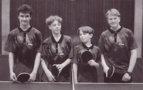 1996 - 1. Jugenmannschaft von links nach rechts: Adrian Kotai, Hildebrandt Herzberg, Dennis Pfutterer, Sven Thrun