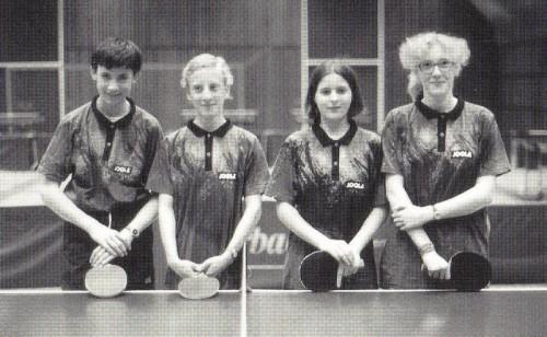 1996 - 1. Schülermannschaft von links nach rechts: Simon Böhm, Björn Fenske, Mirjam Huber, Nadine Kurz