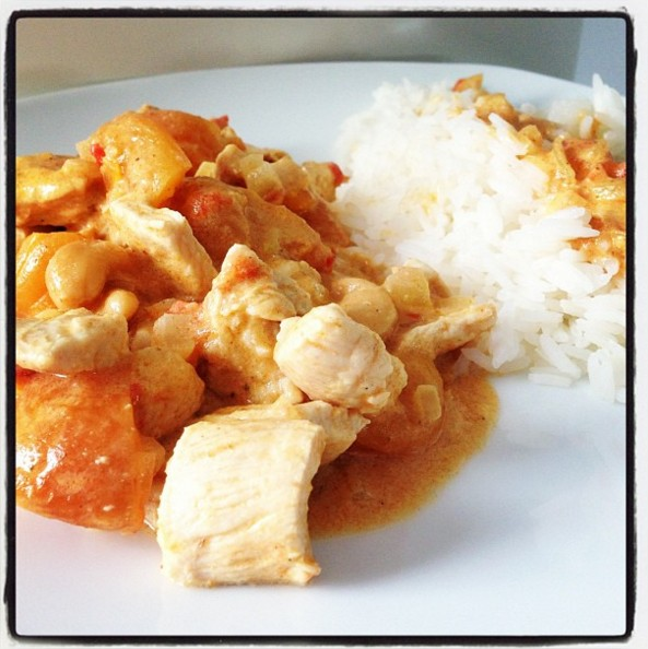 poulet au curry, lait de coco