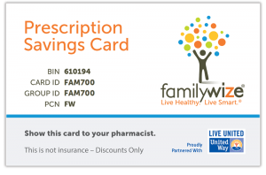 FamilyWize Prescriptions Savings Card graphic