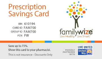 FamilyWize Prescription Savings Card example. Click to go to FamilyWize.org.