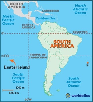 map of South America, including Easter Island