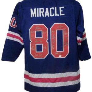 "1980 Usa ""miracle On Ice"" Olympic Hockey Signed Xl Blue Jersey (19) 13666 - JSA Certified"