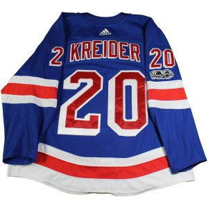 Chris Kreider New York Rangers 2017-2018 Game Used #20 Set 1 Blue Jersey w/ 100th Anniversary Patch (10/8/2017 - 11/22/2017)