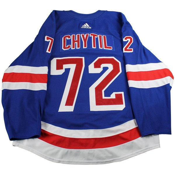 big sale f7885 4a4fc Filip Chytil New York Rangers 2017-2018 Pre-Season Game Used #72 Blue  Jersey (Size 56)