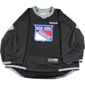 New York Rangers Black Used Shield Logo Practice Jersey (Size 58)