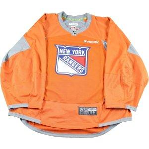 New York Rangers Orange Used Shield Logo Practice Jersey (Size 58)