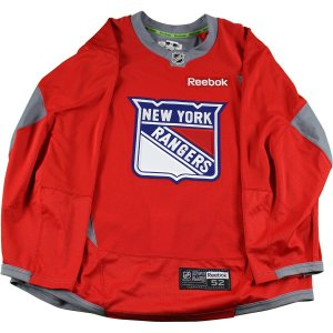 New York Rangers Red Used Shield Logo Practice Jersey (Size 52)