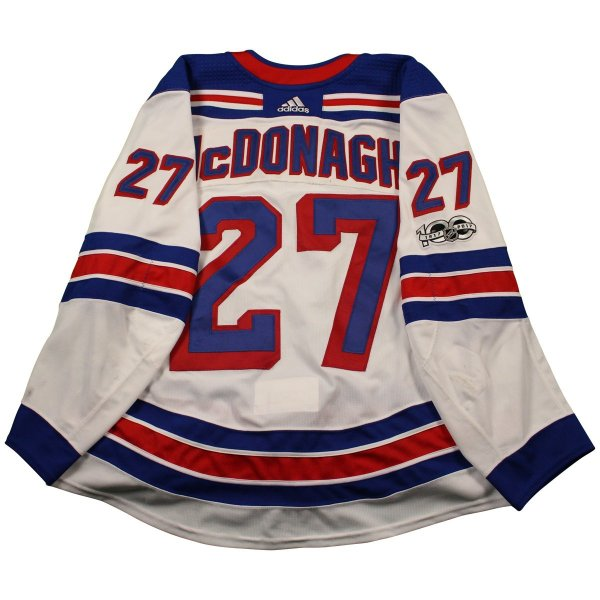 purchase cheap d7973 13089 Ryan McDonagh New York Rangers 2017-2018 Game Used #27 Set 1 White Jersey  w/ 100th Anniversary Patch (10/7/2017 - 11/22/2017)