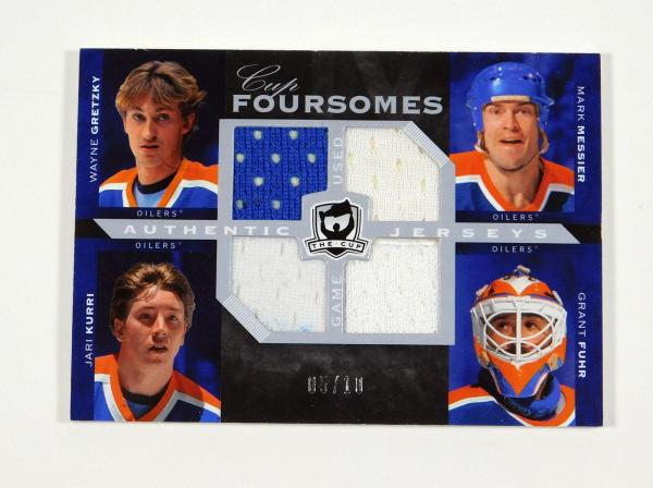 2007-08 UD The Cup Gretzky Kurri Messier Fuhr Foursomes Quad Jerseys Oilers /10