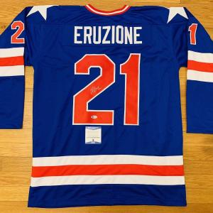 Usa Mike Eruzione Signed Custom Hockey Jersey Miracle On Ice 1980 Bas Coa F99879 - Beckett Authentication