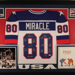 1980 USA Hockey Team Signed Miracle Framed White XL Jersey 15 Sigs 17667 - JSA Certified