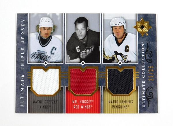 2008-07 Ultimate Collection Gretzky / Howe / Lemieux Triple Jerseys /25